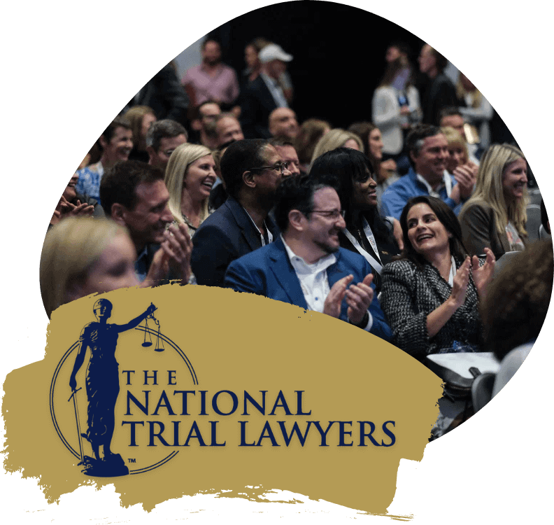 the National Trial Lawyers Logo in navy blue on a gold background with a group of lawyers applauding in the background