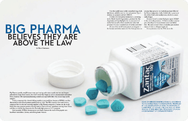 Big Pharma believes they are above the law magazine page: shows a spilled zantac bottle