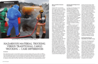Hazardous material trucking magazine page: shows firemen attempting to control a fire from a crashed truck