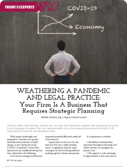 Weathering a Pandemic and Legal Practice magazine page: shows a lawyer studying a chalkboard comparing the Covid-19 pandemic and the Economy