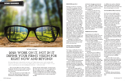 Define your firms' vision for right now nad beyone magazine page: shows sunglasses reflecting a forest