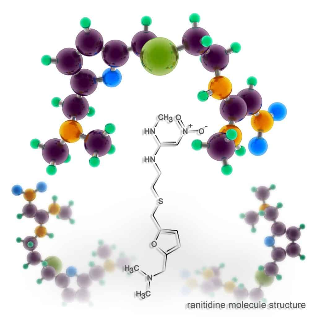 The molecular structure of a ranitidine molecule